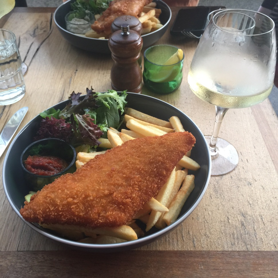 Fish & Co perfectly prepared crumbed with chips.