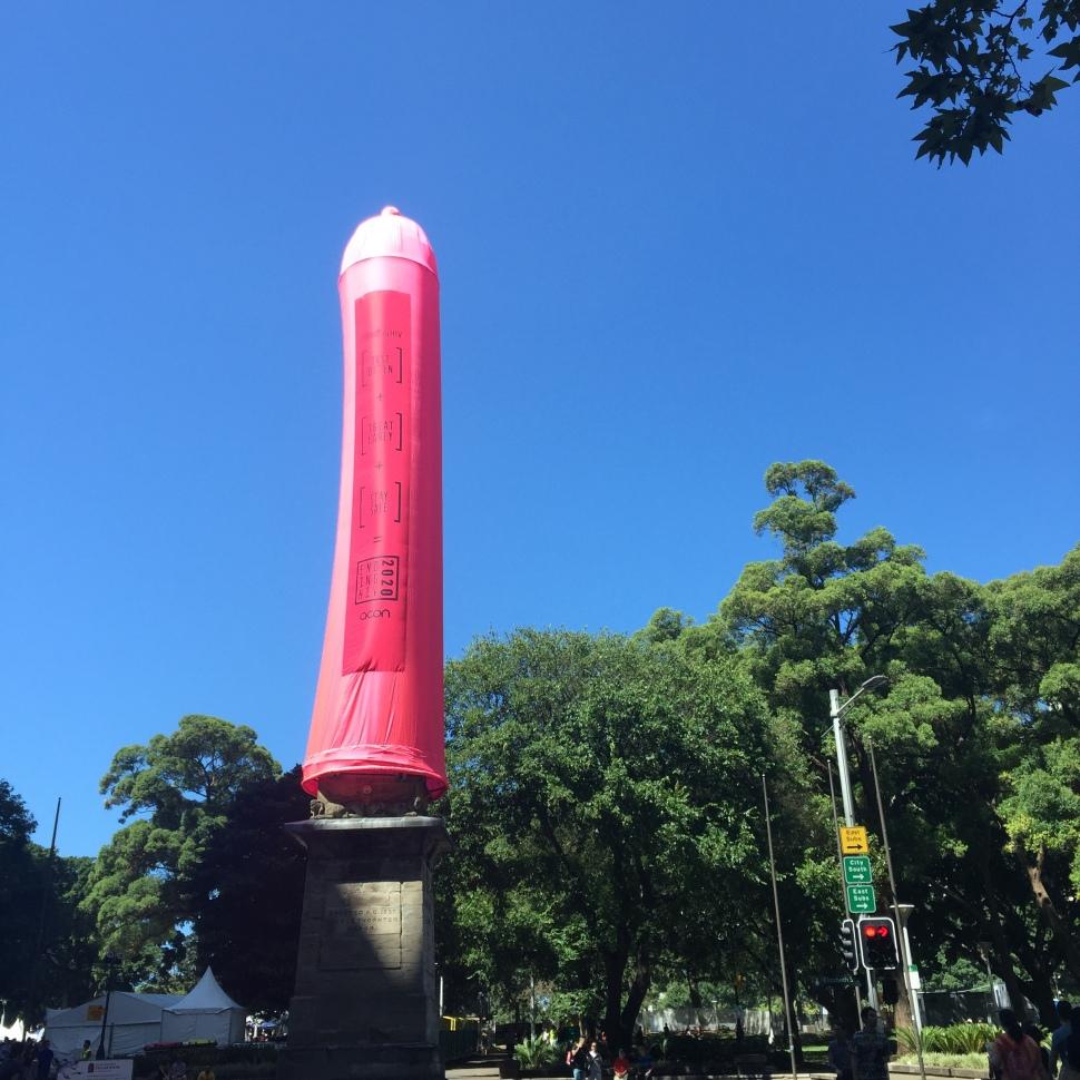 Sydney Hyde Park Obelisk Giant Pink Condom
