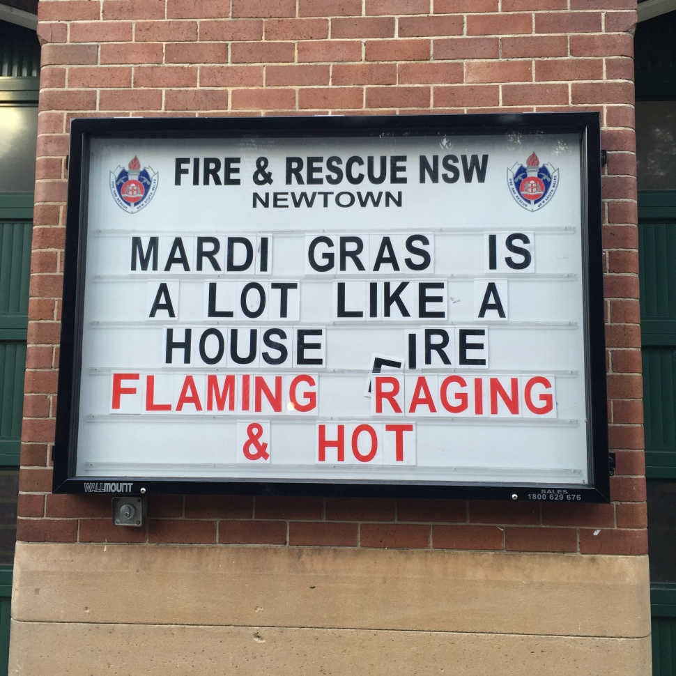 Newtown Sydney Fire Rescue Funny Sign