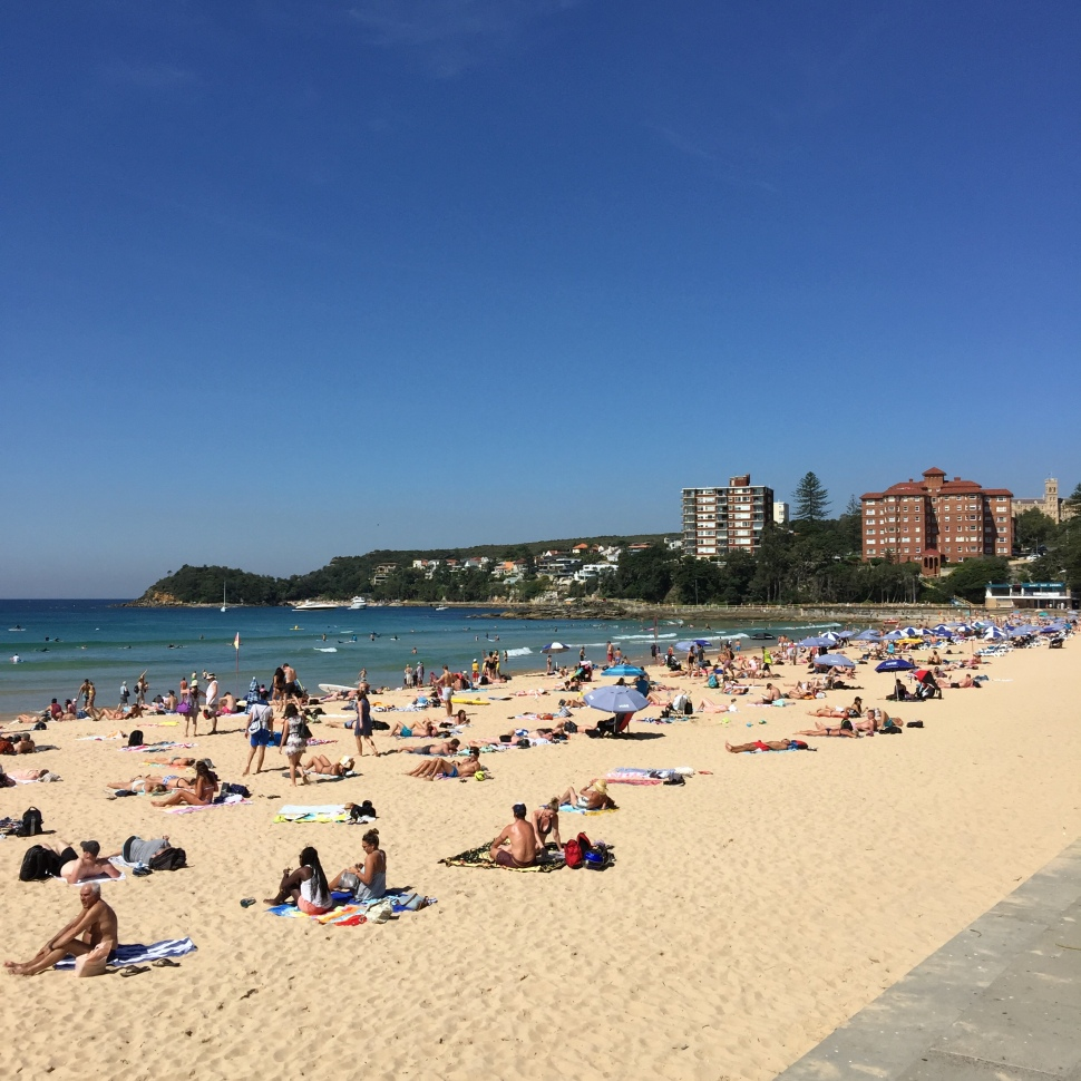 A busy day at Manly Beach in Sydney