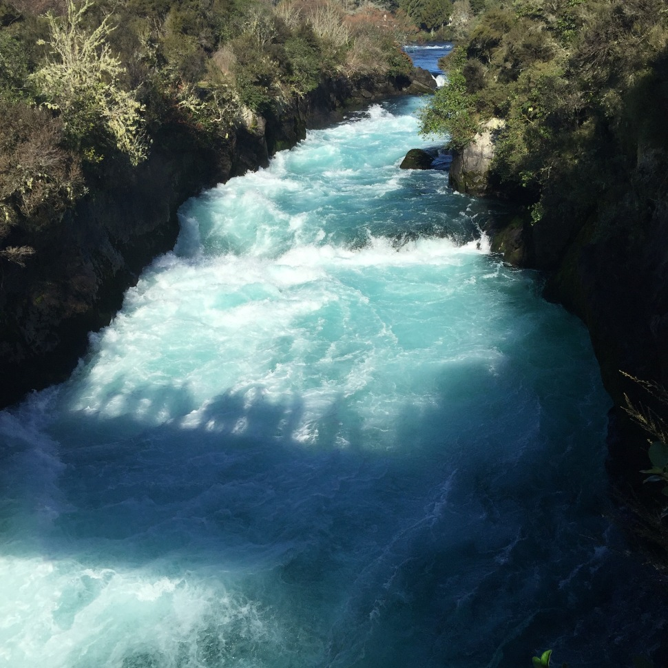 huka falls nz bridge shadow