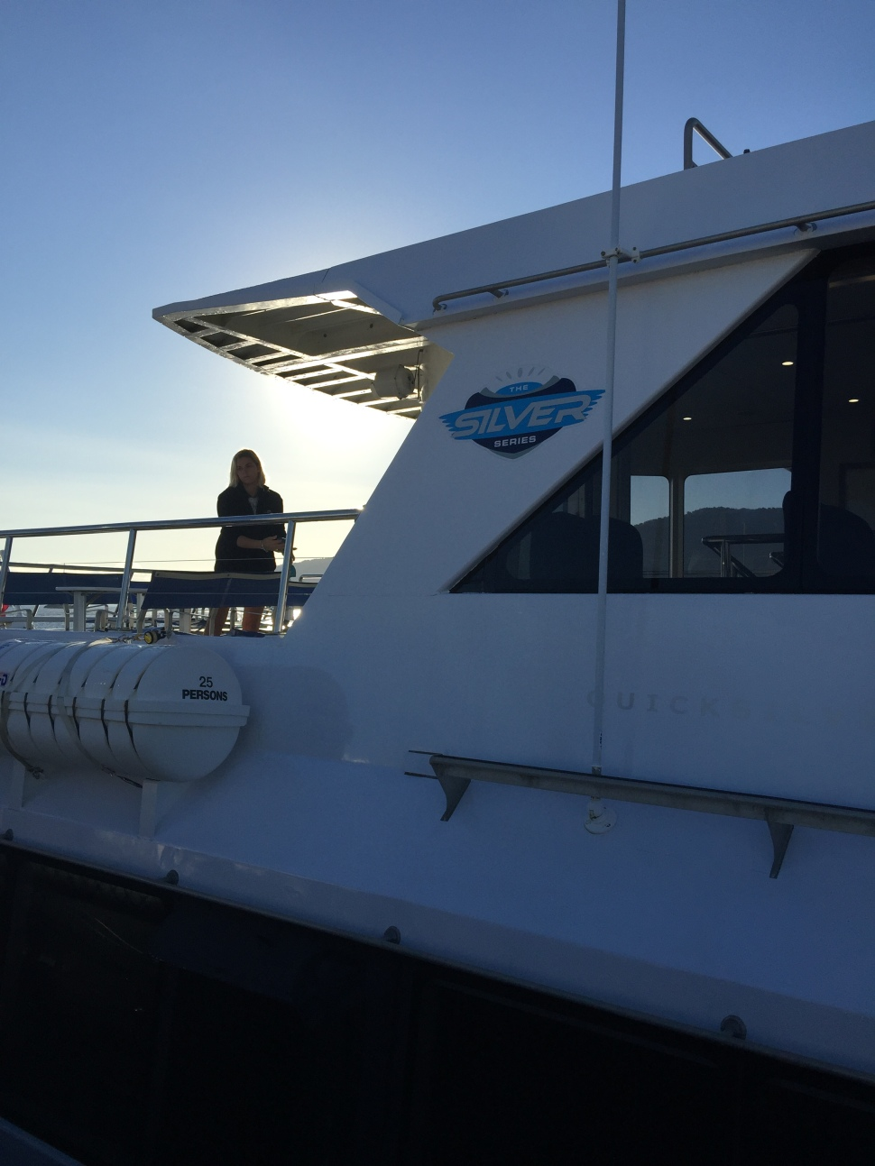 Boarding the Silverswift for the direct service to Flynn Reef on the GBR.