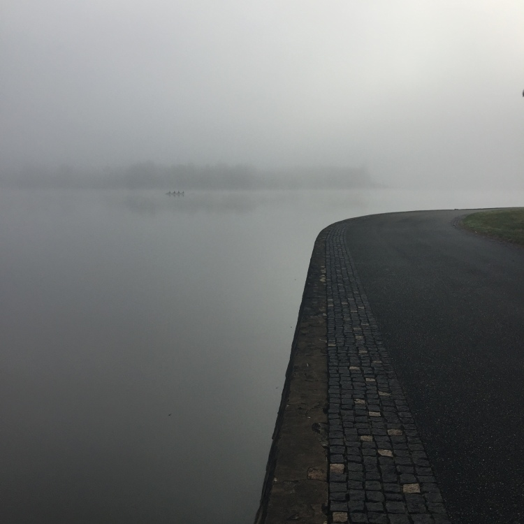 lake burley griffin in the fog